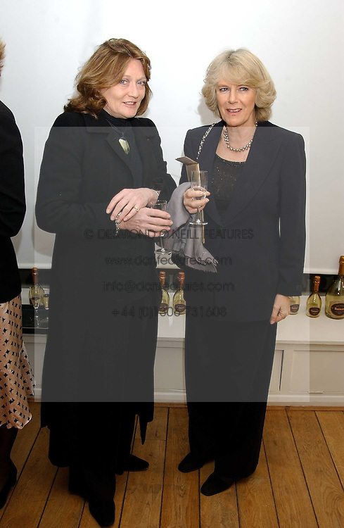 Left to right, LEONORA, COUNTESS OF LICHFIELD and HRH the DUCHESS OF CORNWALL at an exhibition of artist Jonathan Yeo's portrait paintings held at Eleven, 11 Eccleston Street, London SW1 on 16th February 2006.<br />