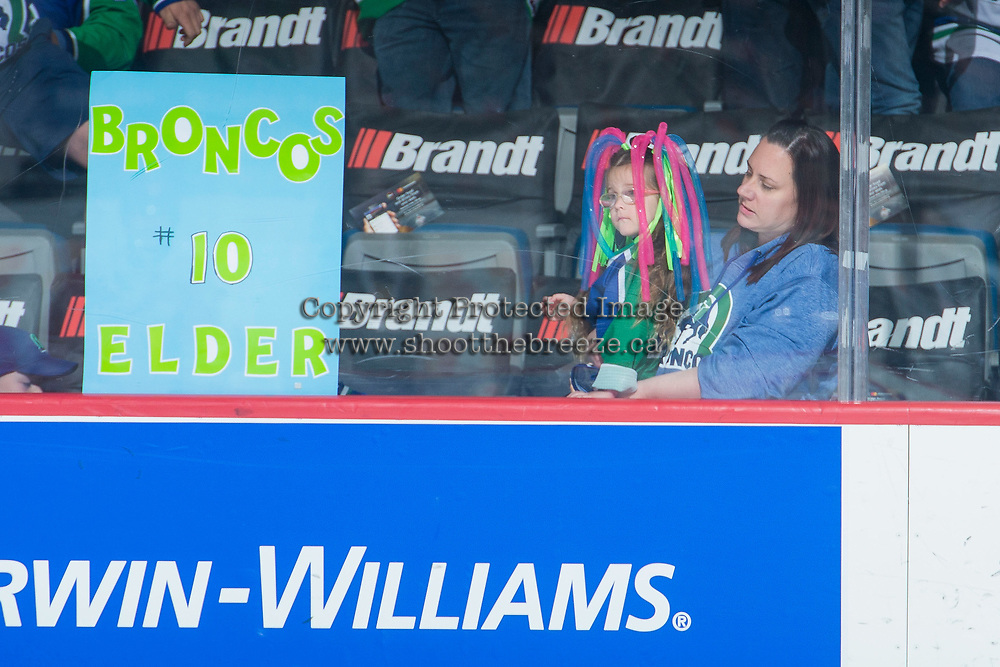 REGINA, SK - MAY 19: Kaden Elder #10 of Swift Current Broncos has fan support against the Acadie-Bathurst Titan at the Brandt Centre on May 19, 2018 in Regina, Canada. (Photo by Marissa Baecker/CHL Images)