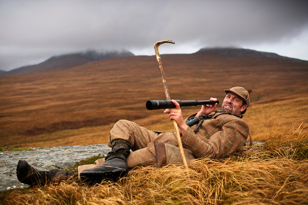 Gordon Muir is the gamekeeper of Tarbert Estate on the Isle of Juram Scotland. Muir takes deer stalkers out on the hills of Jura. He is very traditional, wearing tweed plus fours and a deerstalker cap. The Isle of Jura is on the west coast of Scotland and known for having more than 6,000 deer but only 200 people.
