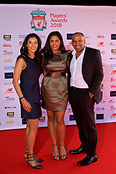 LIVERPOOL, ENGLAND - Thursday, May 10, 2018: Bobby Arora, of B&M, and wife Natasha Arora with their daughter on the red carpet for the Liverpool FC Players' Awards 2018 at Anfield. (Pic by David Rawcliffe/Propaganda)