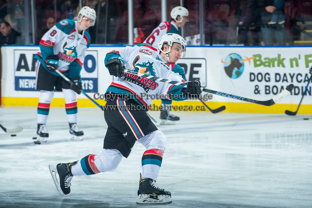 KELOWNA, CANADA - MARCH 7: Gordie Ballhorn #4 of the Kelowna Rockets warms up against the Vancouver Giants  on March 7, 2018 at Prospera Place in Kelowna, British Columbia, Canada.  (Photo by Marissa Baecker/Shoot the Breeze)  *** Local Caption ***
