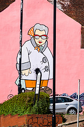 Muriel the mural by Sheffield artist Pete McKeeis on the side of the Art House on Carver Street in Sheffield South Yorkshire<br /> <br /> 24 April 2020<br /> <br /> www.pauldaviddrabble.co.uk<br /> All Images Copyright Paul David Drabble - <br /> All rights Reserved - <br /> Moral Rights Asserted -