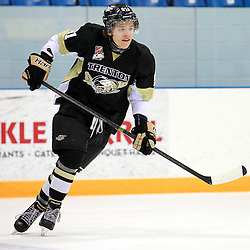 NEWMARKET, ON - Feb 20 : Ontario Junior Hockey League Game Action between the Trenton Golden Hawks and the Newmarket Hurricanes, Ryan Kinsella #91 of the Trenton Golden Hawks Hockey Club during the pre-game warm-up.<br /> (Photo by Brian Watts / OJHL Images)