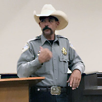 Cibola County Sheriff Tony Mace addresses the Cibola County Board of Commissioners Thursday during a meeting in Grants.