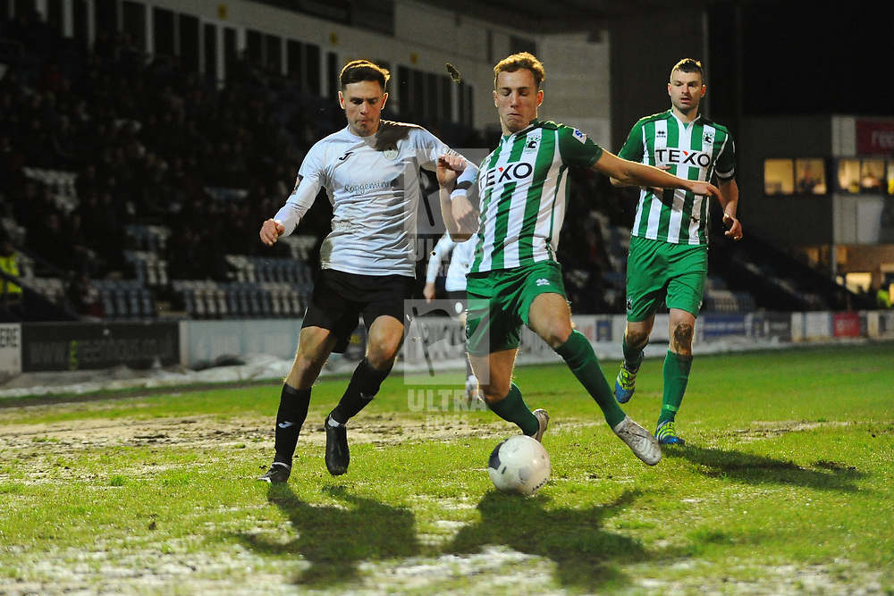 TELFORD COPYRIGHT MIKE SHERIDAN Ryan Barnett of Telford during the Vanarama Conference North fixture between AFC Telford United and Blyth Spartans at The New Bucks Head on Tuesday, January 28, 2020.<br /> <br /> Picture credit: Mike Sheridan/Ultrapress<br /> <br /> MS201920-043