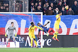 February 13, 2019 - Caen, France - 05 KARA MBODJI (NAN) - 03 DIEGO CARLOS (NAN) - 12 CLAUDIO BEAUVUE (CAEN) - RETOURNE ACROBATIQUE (Credit Image: © Panoramic via ZUMA Press)