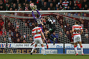 Doncaster Rovers goalkeeper Thorsten Stuckmann  puts the ball over the bar during the The FA Cup third round match between Doncaster Rovers and Stoke City at the Keepmoat Stadium, Doncaster, England on 9 January 2016. Photo by Simon Davies.