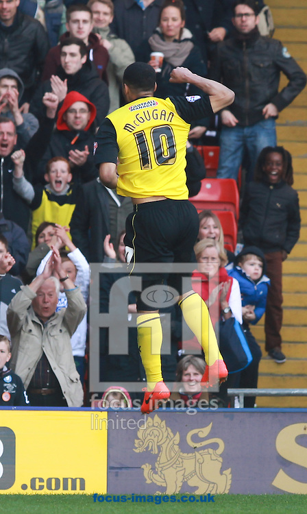 Lewis McGugan of Watford celebrates scoring against Ipswich Town during the Sky Bet Championship match at Vicarage Road, Watford<br /> Picture by John Rainford/Focus Images Ltd +44 7506 538356<br /> 19/04/2014