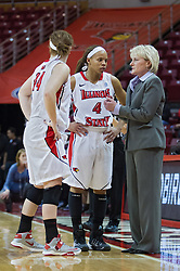 03 January 2014:  Alexis Foley and Chloe Nelson chat with Head Coach Barb Smith during an NCAA women's basketball game between the Drake Bulldogs and the Illinois Sate Redbirds at Redbird Arena in Normal IL