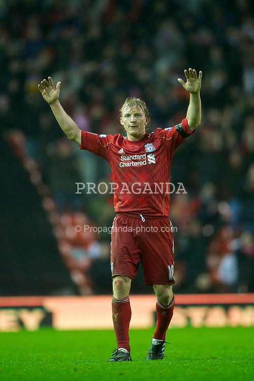LIVERPOOL, ENGLAND - Saturday, January 1, 2011: Liverpool's Dirk Kuyt applauds the supporters after a 2-1 victory against Bolton Wanderers in the Premiership match at Anfield. (Photo by: David Rawcliffe/Propaganda)