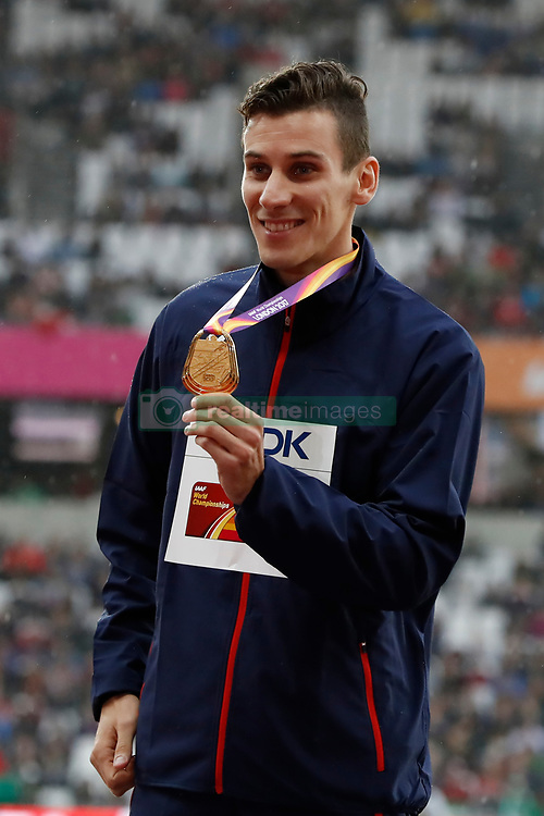 France's Pierre-Ambroise Bosse poses with his medal from the Men's 800m during day six of the 2017 IAAF World Championships at the London Stadium, UK, August 9, 2017. Photo by Henri Szwarc/ABACAPRESS.COM