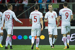 October 8, 2017 - Warsaw, Poland - The polish players celebrate Kamil Grosicki goal during the FIFA World Cup 2018 Qualifying Round Group E match between Poland and Montenegro at National Stadium in Warsaw, Poland on October 8, 2017  (Credit Image: © Andrew Surma/NurPhoto via ZUMA Press)