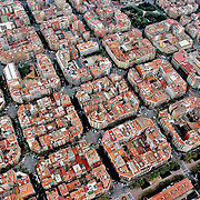 Aerial view of downtown Barcelona housing. Aerial views of artistic patterns in the earth.