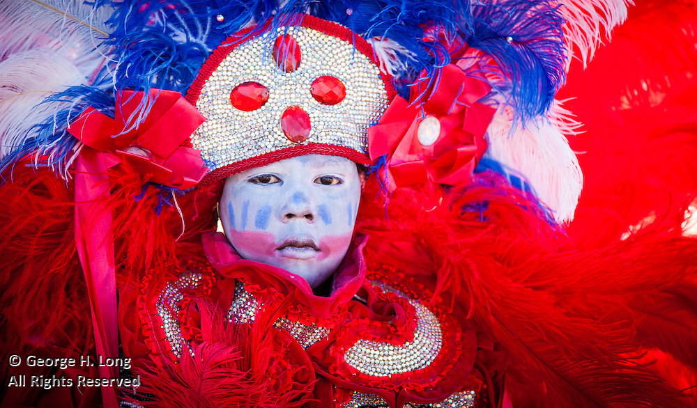 Creole Wild West tribe; Super Sunday: Mardi Gras Indians gather and parade near Bayou St. John
