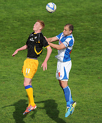 Bristol Rovers' Chris Beardsley battles for a high ball with Mansfield Town's Sam Clucas - Photo mandatory by-line: Alex James/JMP - Mobile: 07966 386802 03/05/2014 - SPORT - FOOTBALL - Bristol - Memorial Stadium - Bristol Rovers v Mansfield - Sky Bet League Two