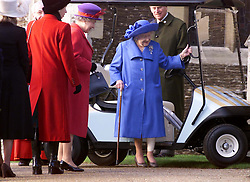 Royals in Sandringham..The Royal Family on Christmas Day at church in Sandringham, Norfolk.The Queen Mother watched by the Queen (left) 2000. Photo by Andrew Parsons/i-Images.Queen Mother at Sandringham attending church service on Christmas Day 2000. Photo by Andrew Parsons/i-Images.Queen Mother and Queen at Sandringham attending church service on Christmas Day 2000. Photo by Andrew Parsons/i-Images.