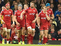 Rugby Union - 2016 / 2017 Pro12 - [Judgement Day V]: Newport Gwent Dragons vs. Scarlets<br /> <br /> Jonathan Davies of Llanelli Scarlets  celebrates scoring, at Principality Stadium [Millennium Stadium], Cardiff.<br /> <br /> COLORSPORT/WINSTON BYNORTH
