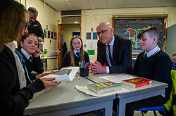 Pictured: Mr Swinney met first year students who were keen to offer their views<br /> <br /> Education Secretary, John Swinney, MSP, addressed more than 100 teachers and education leaders, as he provided an update on the terms of reference for a review of the curriculum, in a speech marking five years of the Scottish Attainment Challenge.<br /> <br /> Ger Harley | EEm 26 February 2020