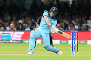 Ben Stokes of England plays an attacking shot during the ICC Cricket World Cup 2019 Final match between New Zealand and England at Lord's Cricket Ground, St John's Wood, United Kingdom on 14 July 2019.