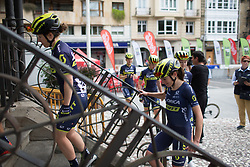 \annvl of Orica-AIS Cycling Team steps on the sign-on podium before the Durango-Durango Emakumeen Saria - a 113 km road race, starting and finishing in Durango on May 16, 2017, in the Basque Country, Spain.