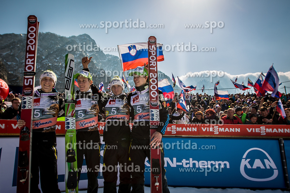 Peter Prevc, Anze Semenic, Jurij Tepes and Robert Kranjec of Slovenia during the Flying Hill Team Competition at Day 3 of FIS World Cup Ski Jumping Final, on March 21, 2015 in Planica, Slovenia. Photo by Grega Valancic / Sportida