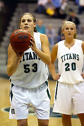 10 January 2009: Christina Solari at the line. The Illinois Wesleyan Titans, ranked #1 in the latest USA Today/ESPN poll, take down the Lady Reds of Carthage and remain undefeated,  2-0 in the CCIW and over all to 12-0. This is the first time in the history of the Lady Titans Basketball they have been ranked #1 The Titans and Lady Reds played in the Shirk Center on the Illinois Wesleyan Campus in Bloomington Illinois.