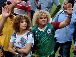 September 8, 2017 - Kolkata, West Bengal, India - Colombian former footballer Carlos Alberto Valderrama Palacio (Valderrama) in a light moment at Eden Garden on September 8, 2017 in Kolkata. (Credit Image: © Saikat Paul/Pacific Press via ZUMA Wire)