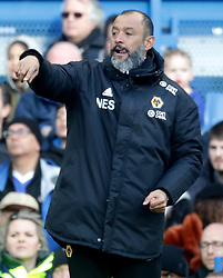 Wolverhampton Wanderers manager Nuno Espirito Santo gestures on the touchline during the Premier League match at Stamford Bridge, London.