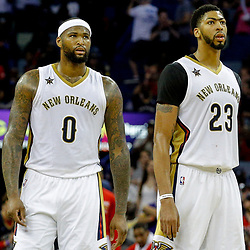 Mar 21, 2017; New Orleans, LA, USA; New Orleans Pelicans forward DeMarcus Cousins (0) and forward Anthony Davis (23) during the second half of a game against the Memphis Grizzlies at the Smoothie King Center. The Pelicans defeated the Grizzlies 95-82. Mandatory Credit: Derick E. Hingle-USA TODAY Sports