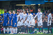 Free kick for Chelsea FC during the Premier League match between Chelsea and Everton at Stamford Bridge, London, England on 11 November 2018.