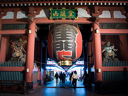 Large red lantern at Senso Ji temple in Asakusa Tokyo Japan