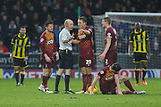 Bradford City defender Tony McMahon puts his point across to the ref during the Sky Bet League 1 match between Burton Albion and Bradford City at the Pirelli Stadium, Burton upon Trent, England on 6 February 2016. Photo by Aaron Lupton.
