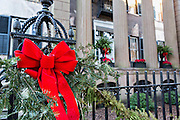 Christmas decorations on the Harper Fowlkes House in historic Savannah, GA.