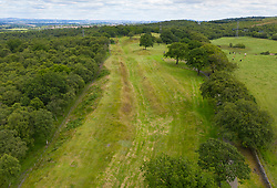 Aerial view showing route (looking east) of Roman Antonine Wall ditch at Rough Castle, Central Region, Scotland, UK