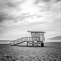 Malibu lifeguard tower #2 at Zuma Beach in Southern California. Black and white photo.