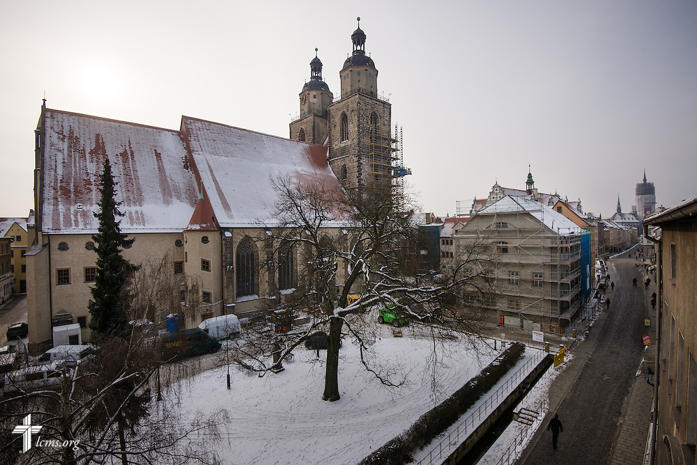 An exterior view of the Old Latin School (right) and the Stadtkirche (left) on Thursday, Jan. 30, 2014, in Wittenberg, Germany. LCMS Communications/Erik M. Lunsford