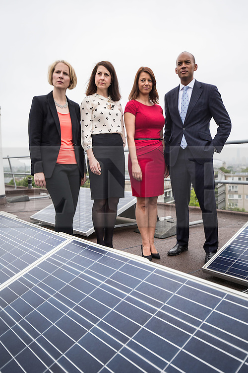 © Licensed to London News Pictures. 20/07/2015. London, UK. Labour leadership contender Liz Kendall (second left) with Emma Reynolds (far left), Gloria De Piero (second right) and Chuka Umunna (right) at Roupell Park Estate in Brixton to talk about renewable energy. Photo credit : James Gourley/LNP