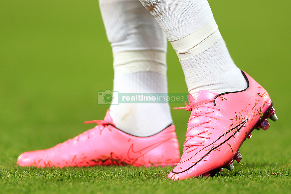 1st November 2017 - UEFA Champions League - Group E - Liverpool v NK Maribor - A pair of pink Nike boots - Photo: Simon Stacpoole / Offside.