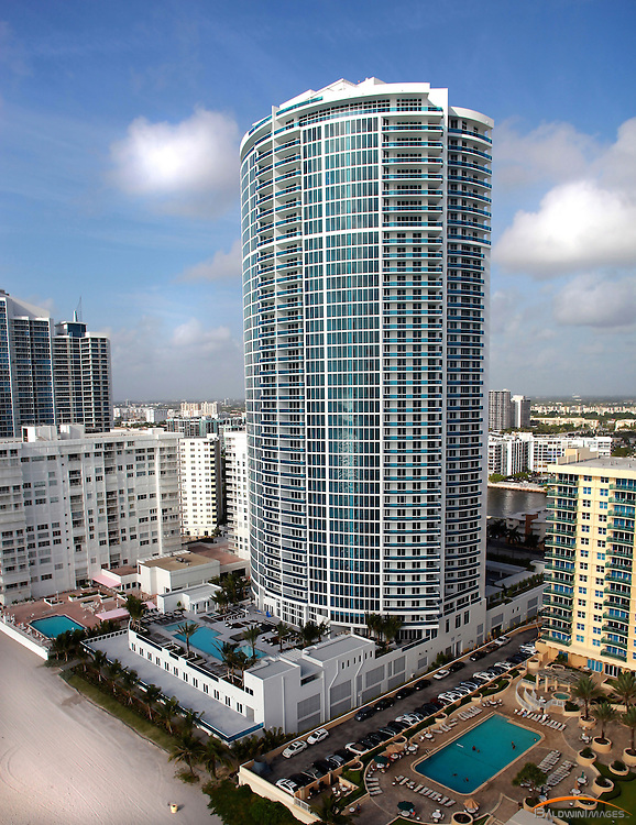 Aerial view of Trump Hollywood, high rise condomium located in Hollywood, Fl.  Designed by Robert M Swedroe
