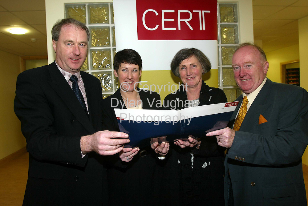 21/2/2002 .Pictured at the opening of the CERT Waterford Training Centre was Dr Tony Lenehan CERT, Tara Kerry Manager of the new Centre,Ann Kerry and Mark Kerry of Alsiri Ltd..Picture Dylan Vaughan.