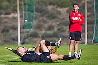 ESTEPONA - 06-01-2016, AZ in Spanje 6 januari, AZ speler Ron Vlaar, AZ speler Vincent Janssen, AZ trainer John van den Brom
