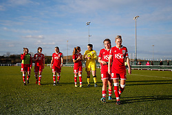 Jodie Brett and Millie Farrow come off the pitch after Bristol City Women win the match 7-1 - Mandatory byline: Rogan Thomson/JMP - 14/02/2016 - FOOTBALL - Stoke Gifford Stadium - Bristol, England - Bristol City Women v Queens Park Rangers Ladies - SSE Women's FA Cup Third Round Proper.