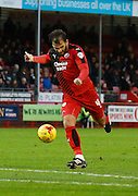 Simon Walton of Crawley Town lets fly during the Sky Bet League 2 match between Crawley Town and Cambridge United at the Checkatrade.com Stadium, Crawley, England on 9 January 2016. Photo by Andy Walter.