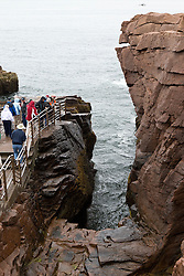 Tourist stand above Thunder Hole, Acadia National Park, Maine, United States of America