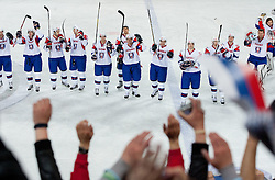 Players of Slovenia celebrate after the ice-hockey match between Slovenia and Hungary at IIHF World Championship DIV. I Group A Slovenia 2012, on April 18, 2012 in Arena Stozice, Ljubljana, Slovenia. Slovenia defeted Hungary 4-1. (Photo by Vid Ponikvar / Sportida.com)