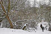 People walk across snow-covered Hampstead Heath, North London, United Kingdom