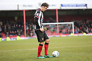 Grimsby Town midfielder Andrew Fox (23) prepares to take a free kick during the EFL Sky Bet League 2 match between Grimsby Town FC and Port Vale at Blundell Park, Grimsby, United Kingdom on 10 March 2018. Picture by Mick Atkins.