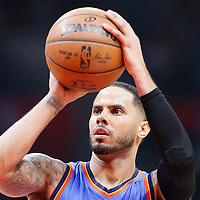 21 December 2015: Oklahoma City Thunder guard D.J. Augustin (14) is seen at the free throw line during the Oklahoma City Thunder 100-99 victory over the Los Angeles Clippers, at the Staples Center, Los Angeles, California, USA.
