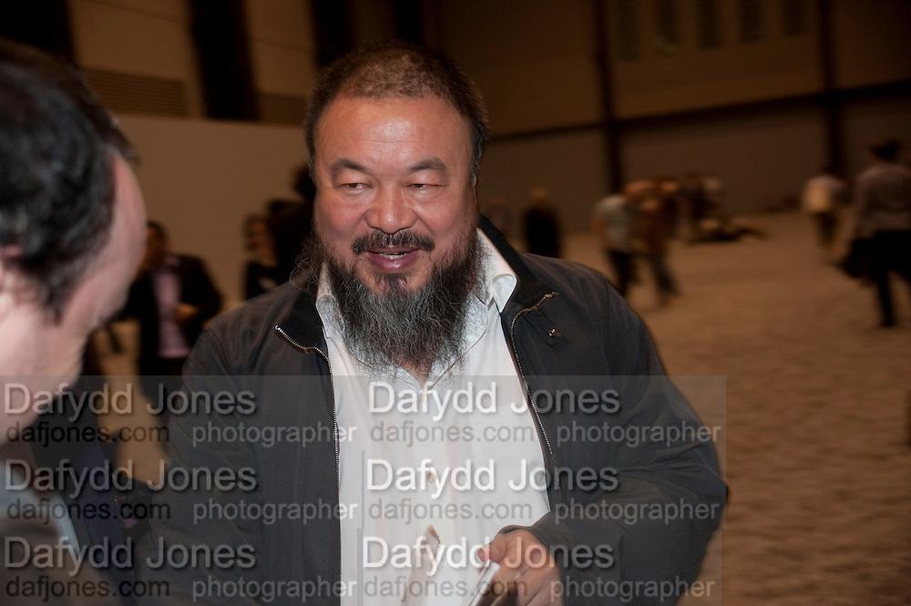 AI WEIWEI, Ai Weiwei Unilever series opening. Tate Modern. 11 October 2010. -DO NOT ARCHIVE-© Copyright Photograph by Dafydd Jones. 248 Clapham Rd. London SW9 0PZ. Tel 0207 820 0771. www.dafjones.com.