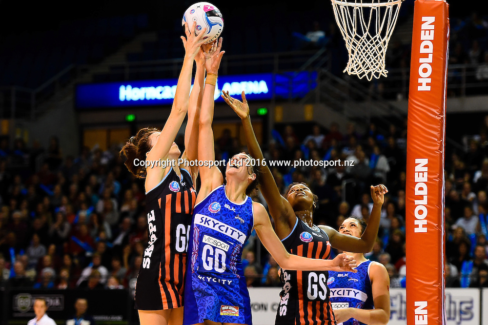 Bailey Mes of the Tactix , Anna Harrison of the Mystics and Mwai Kumwenda of the Tactix go for the ballduring the ANZ Championship netball game Canterbury Tactixs V Northern Mystics at  Horncastle Arena, Christchurch, New Zealand. 25th April 2016. Copyright Photo: John Davidson / www.photosport.nz